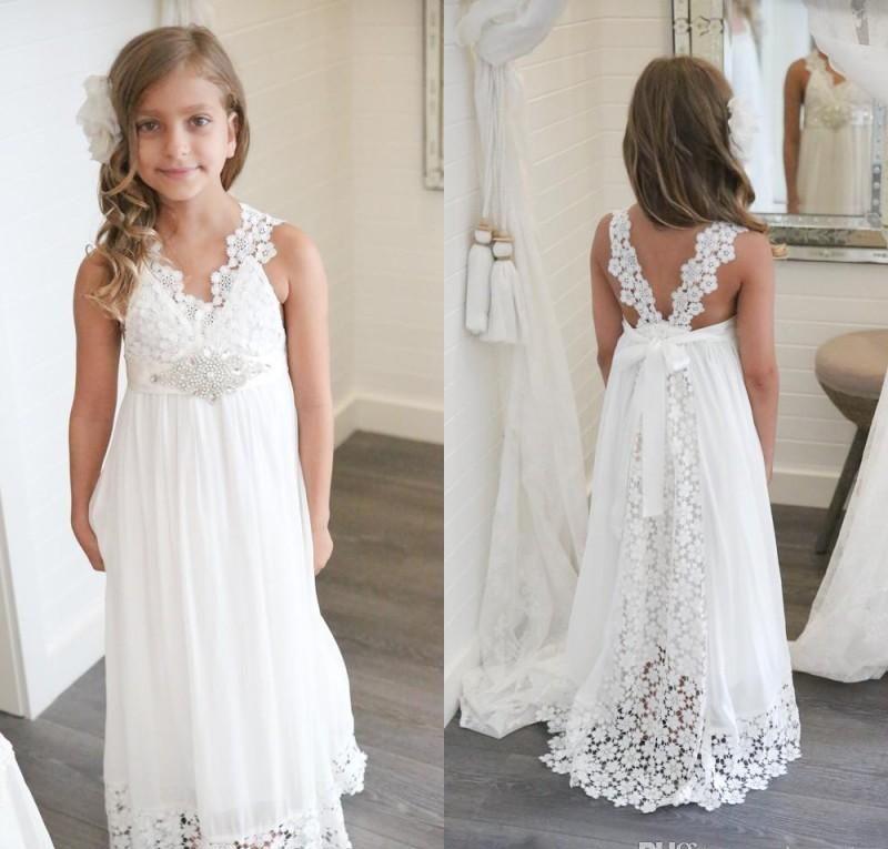78217ebbadcf4 2019 New Arrival Boho White Flower Girl Dresses for Weddings Cheap V Neck  Chiffon Lace Formal Beach Wedding Dress Custom Made