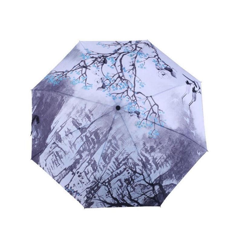 Satın Al Diniwell Kış Boyama Uv şemsiye üç Katlanır Erik çiçeği
