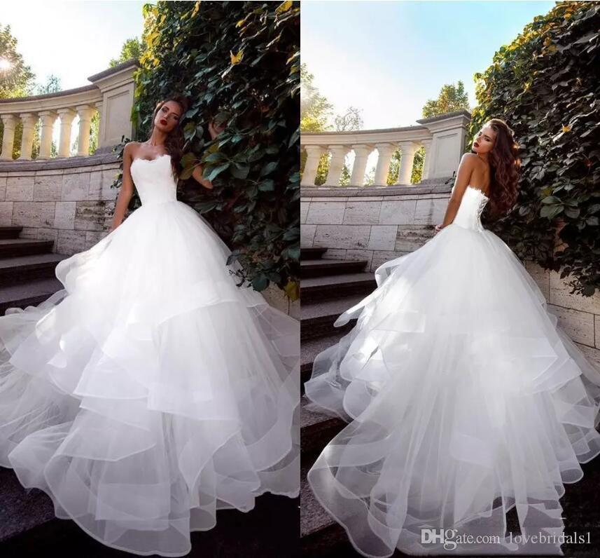 Custom Made 2019 senza spalline Abiti da sposa con balze in tulle sweep treno corsetto lace-up Abiti da sposa Plus Size abito di sfera Wedding Dresse