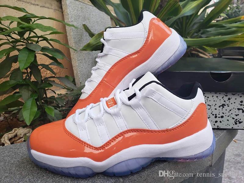 big sale 9cea7 d744b 11s WMNS White Black Orange Mens Designer Shoes 11 Low Orange Trance Man  Basketball Shoes Sports Sneaker With Box size 41-47