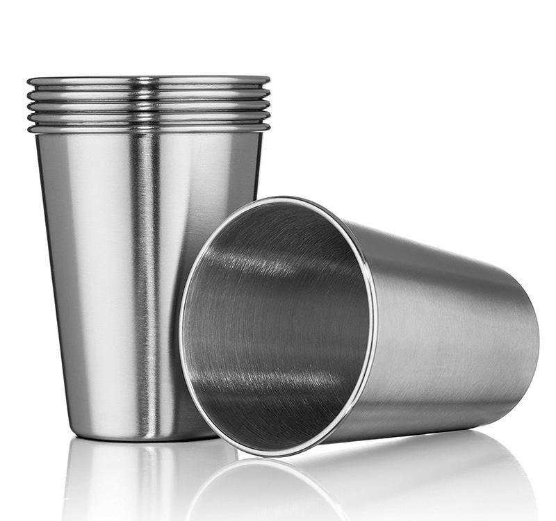 Silver Cups 12 Oz Pint Solid Color Cup Water Tumblers Stackable And Unbreakable Drinking Cups 350ml Stainless Steel Cup Portable Coffee Mugs Portrait Mugs