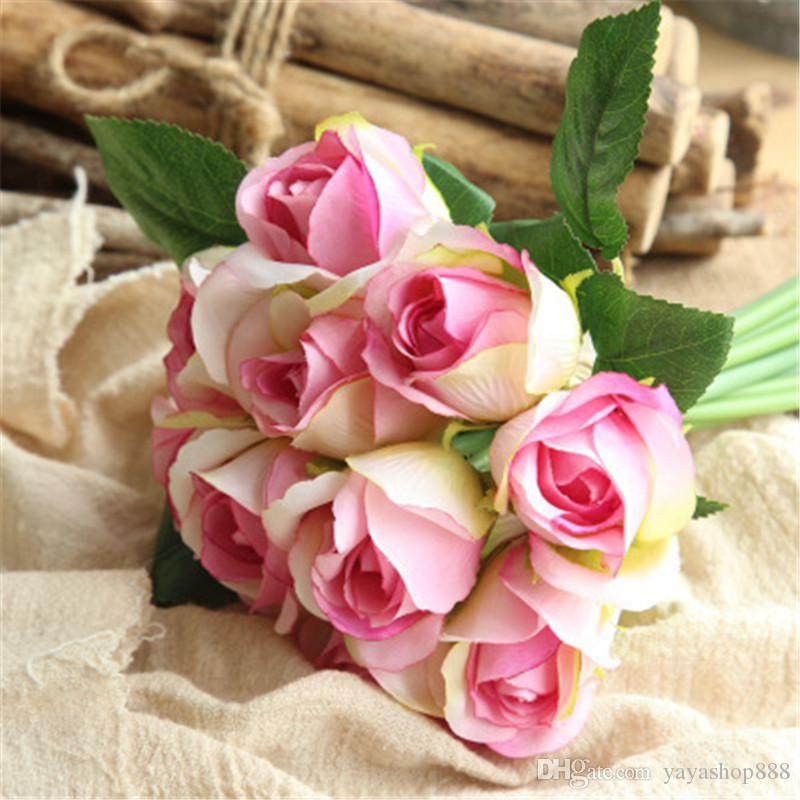 Free Shipping 11pcs/Lot Fresh Rose Artificial Flowers Real Touch Rose Flowers Home decorations for Wedding Party Birthday Wreaths Supplies