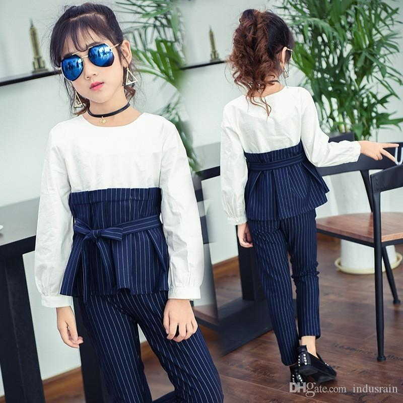 5dbb00a2a70 2019 Striped Patchwork Teenage Kids Girls Outfits Girls Clothes 2019 Spring  Autumn Little Girl Sets School Stripe Long Pants Suits From Indusrain