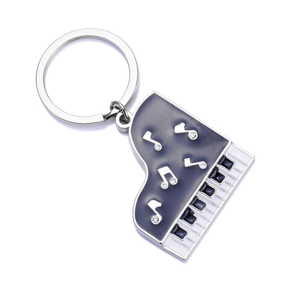 Hot Sale Mini Metal Keychain Music Novelty Items Gifts Drill Glue Piano Key  Ring Car Hey Chains Pendant Keychain for Women Men &