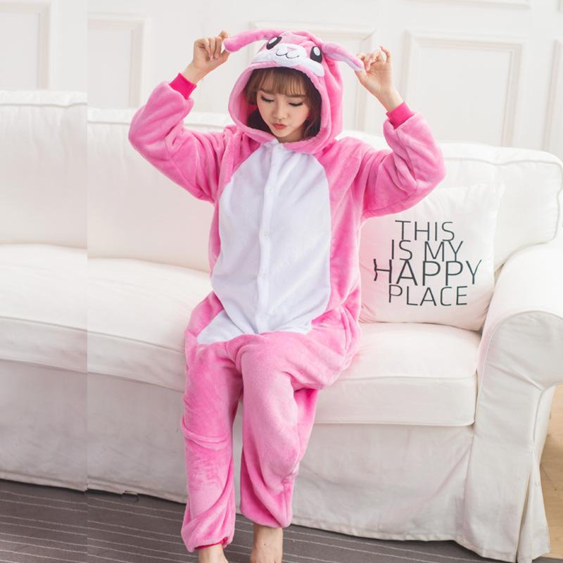 9e27e7138 2019 Cute Bunny Kigurumi Animal Rose Red Flannel Adult Onesie ...