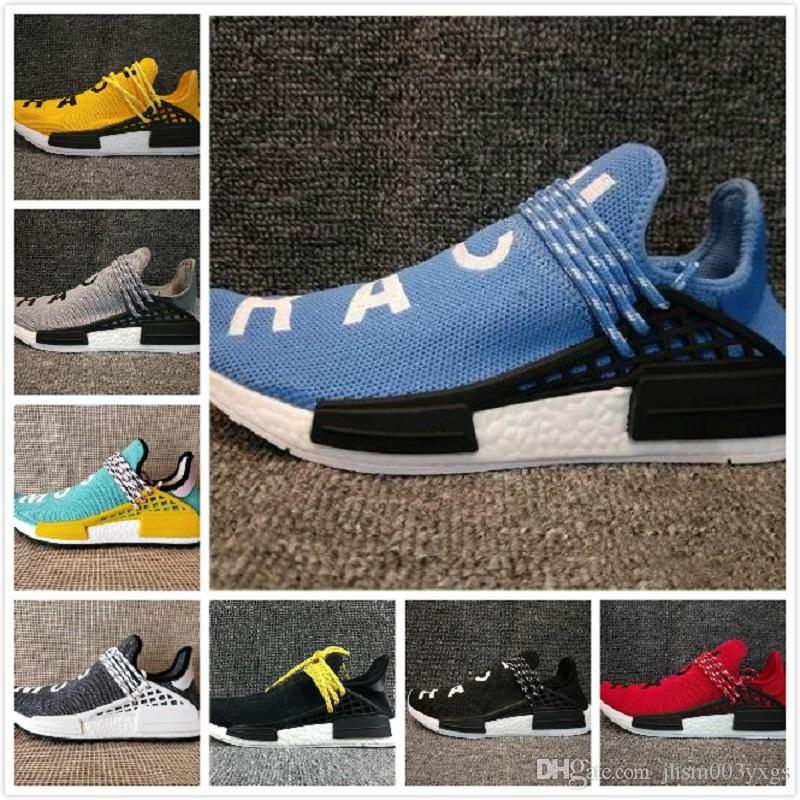 b9210650995 2018 NMD HUMAN RACE Trail Boost Mens Running Shoes Nmds Pharrell Williams  Hu Ultra Boosts White Womens Sport Sneakers US 5 12 Designer Shoes White  Shoes ...