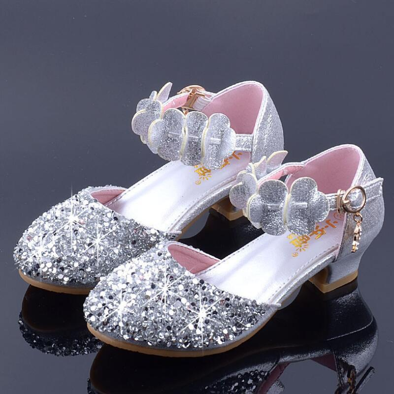acbc74caa3bb Children Princess Shoes For Girls Sandals High Heel Glitter Shiny  Rhinestone Female Party Dress Shoes Silver Pink Gold Child Shoes Childrens  Footwear From ...