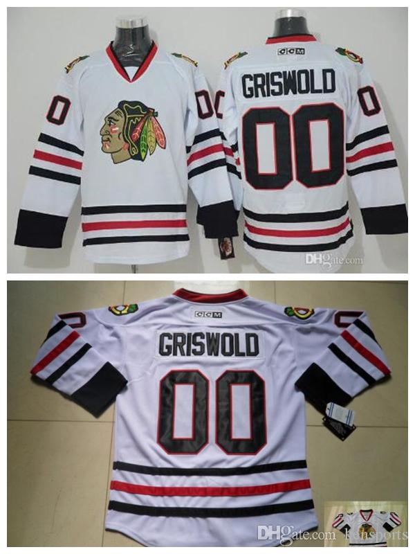online retailer b5c4b ac540 Men Vintage Chicago Blackhawks Hockey Jerseys White 00 Clark Griswold  Vintage CCM Moive National Lampoon s Christmas Vacation Jersey