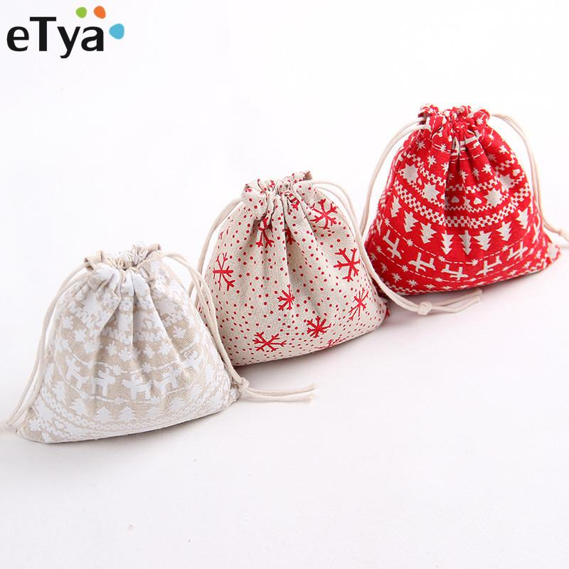 eTya Women Men Cotton Linen Drawstring Bag Reusable Drawstring Shopping Bag Small Large Cosmetic Cloth Coin Storage Bags Pouch