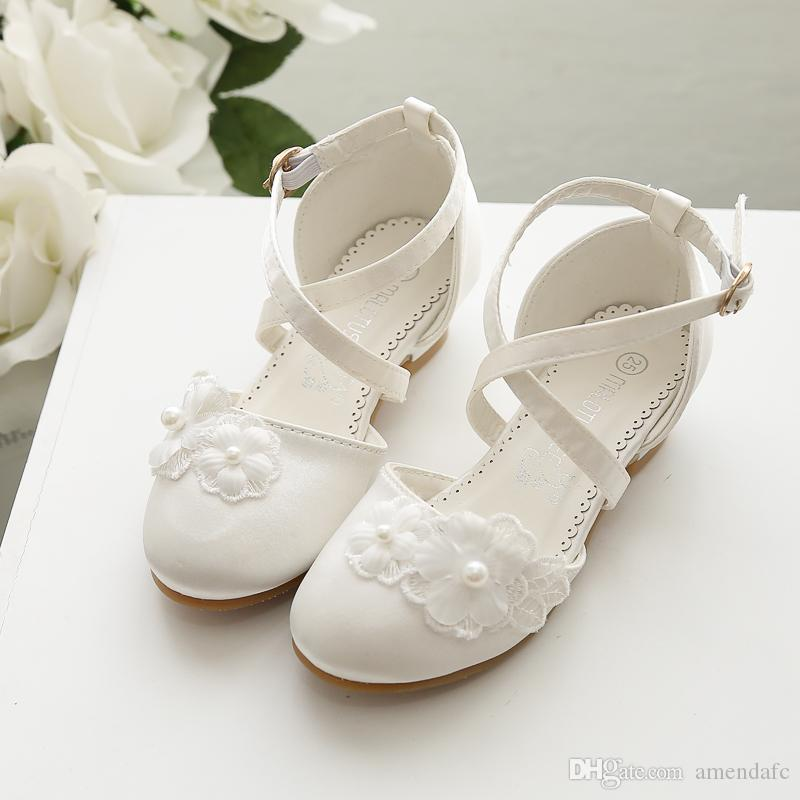 Girls High-heeled Princess Shoes Fashion Imitation Pearl Satin Flower Baby Kids Dancing Dress shoes 506- 5