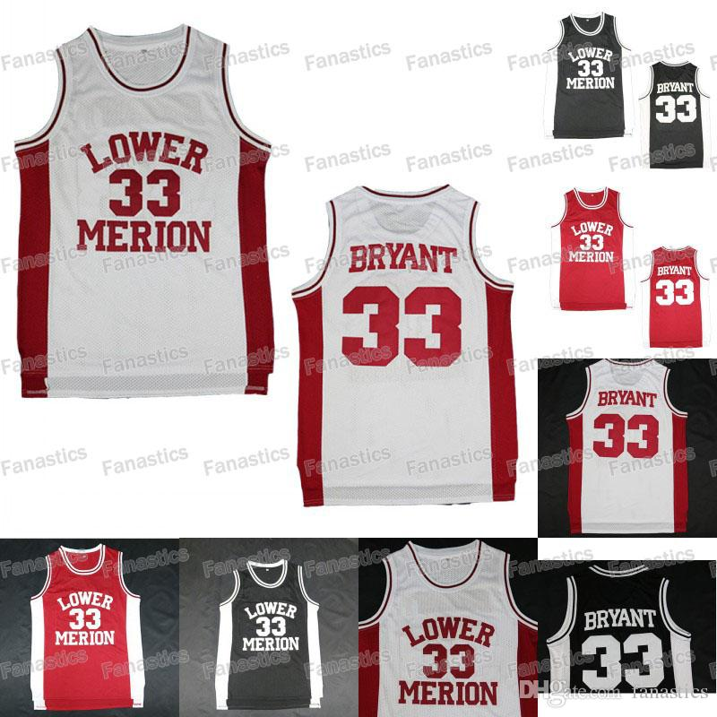 568a0e4b7 Lower Merion College 33 Kobe Bryant Jersey Men Red Black White High School  Basketball Jerseys Sport
