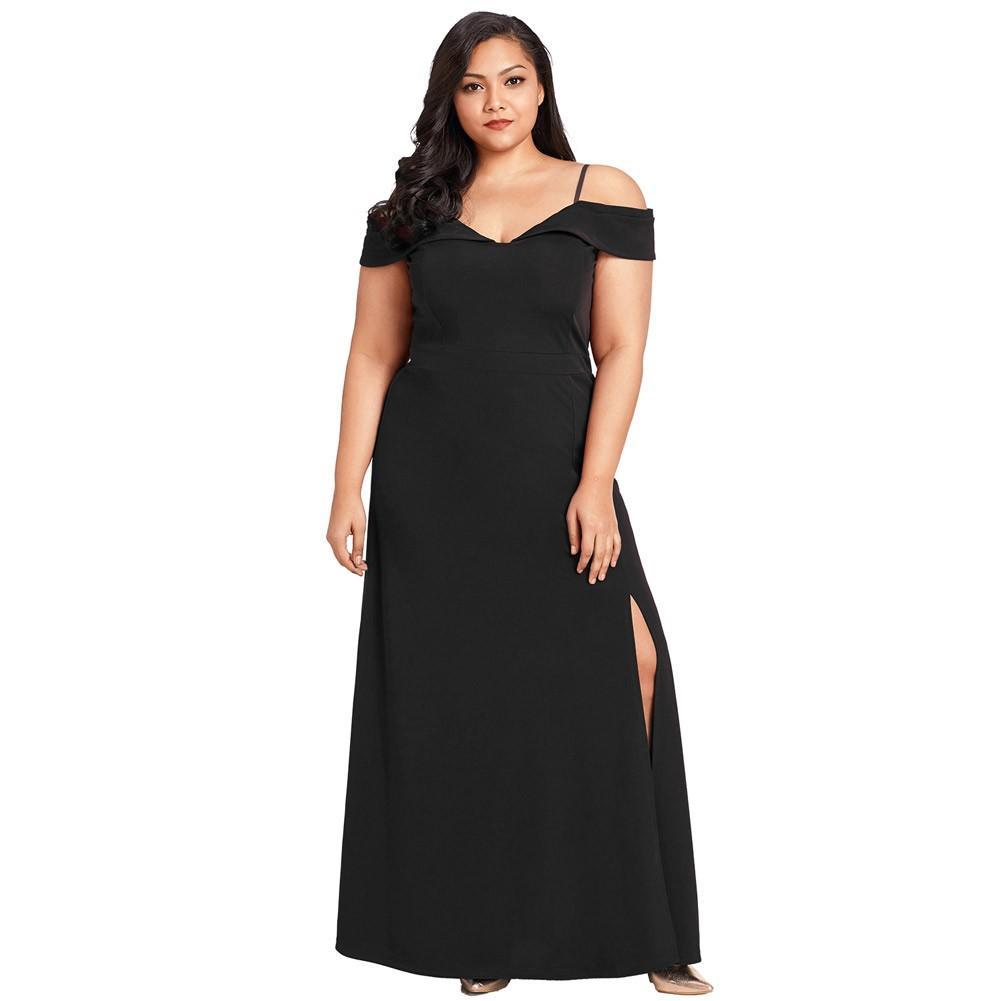 ee04cf7da Compre Mujeres Sexy Más El Tamaño Del Hombro Vestido De Hendidura Con  Cuello En V Vestido Largo Fiesta De Fiesta Elegante Vestido Maxi Vestidos  Negros ...