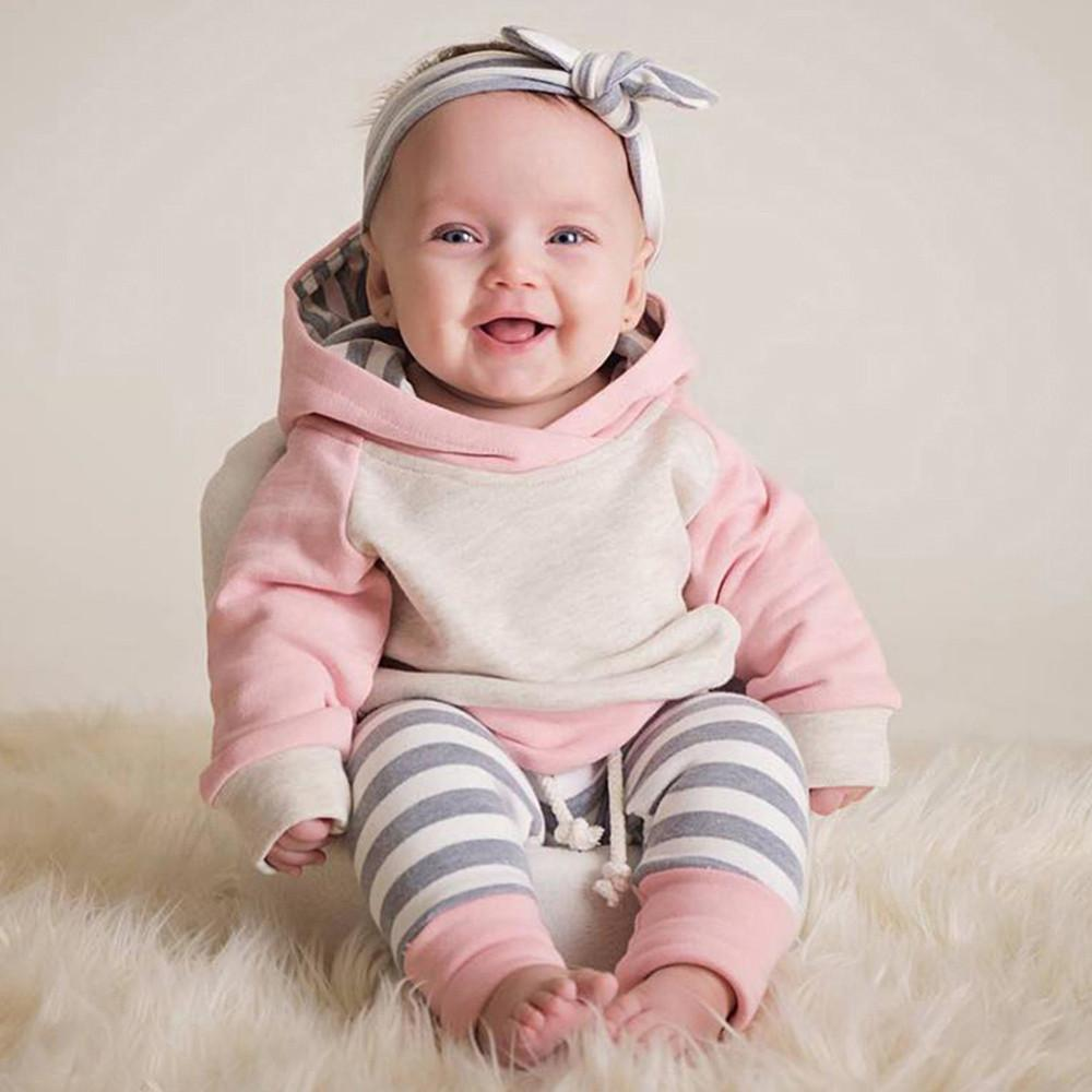 wholesale Baby Grils Suits Clothes 2019 Spring/Autumn Baby Girls 3pcs Toddler Baby Set Hoodie Tops+Pants+Headband