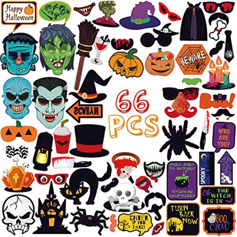 A Set of 66pcs 2019 New Halloween Party Photo Props Ghost Festival Funny Horror Decoration Beard Props Party Supplies Free Shipping
