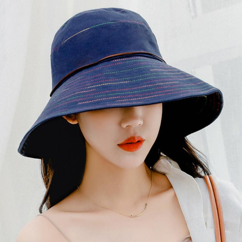 18a457f9a23 HT2241 Women Summer Sun Hat Ladies Solid Wide Brim Hats Anti UV Female Flat  Top Fisherman Cap Fishing Hat Korea Style Bucket Fedora Hats For Men  Cowgirl ...