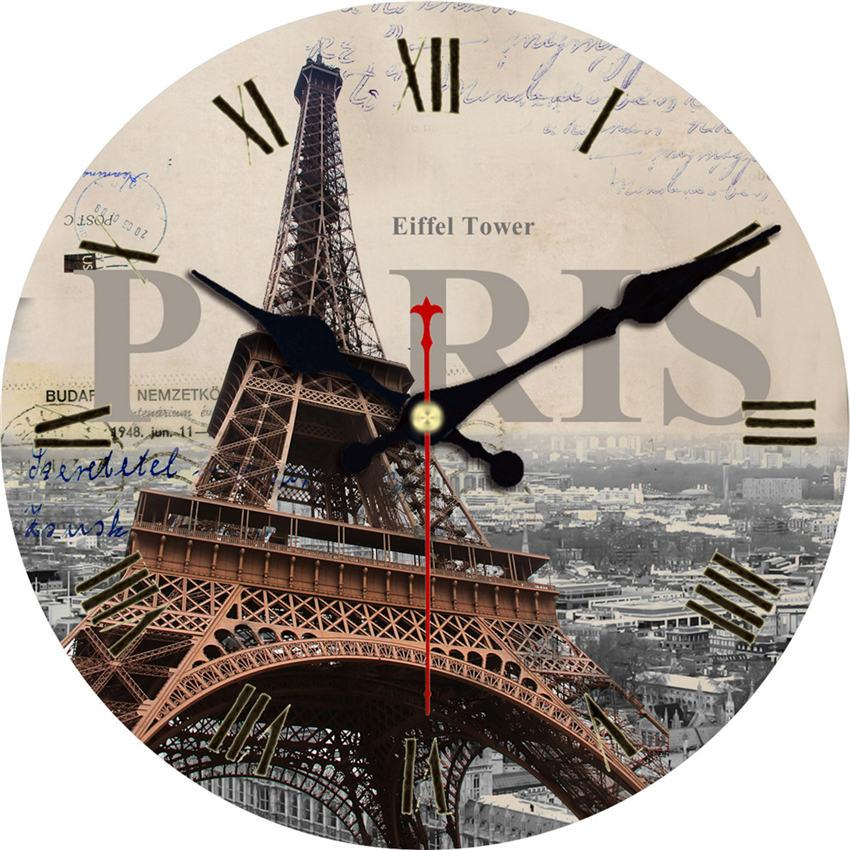 Shabby Chic, Paris Scenery Clock, antike Wanduhr, Clock House