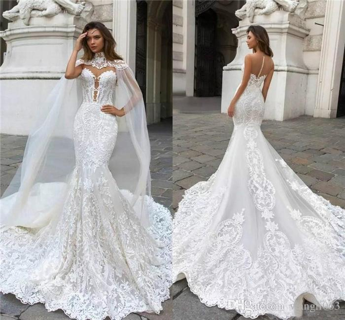 compre dubai Árabe sirena vestidos de novia 2019 sin mangas con