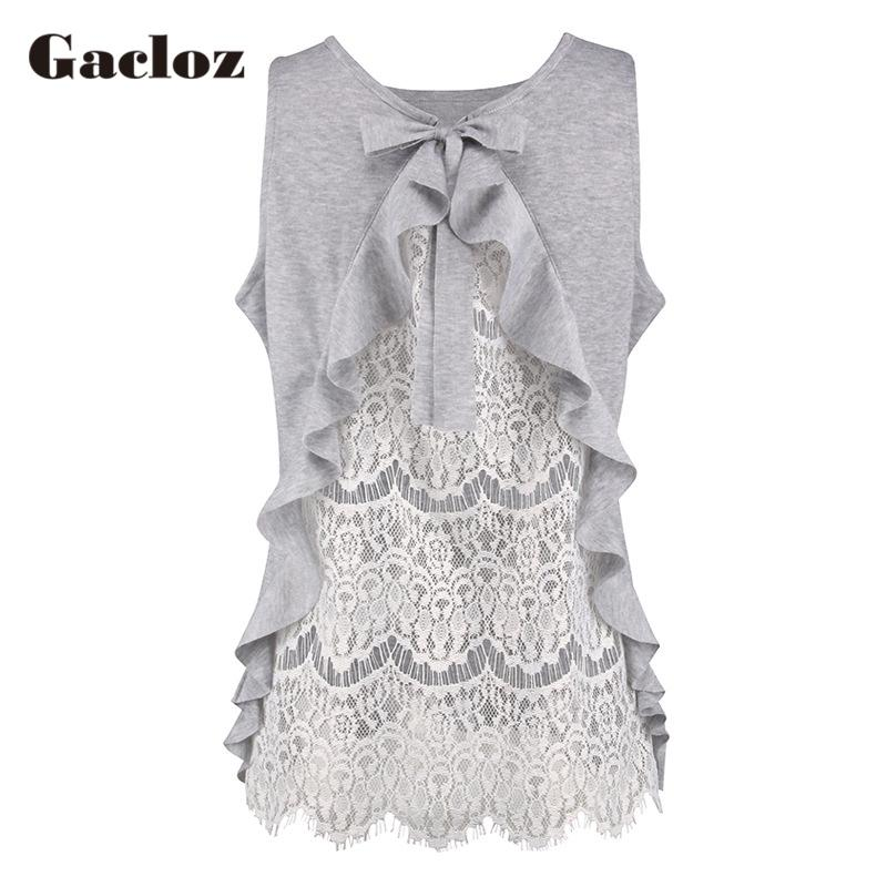 074b00625b0b5 2019 Gacloz 2019 Ladies Blouse Sexy Womens Lace Ruffle Causal Tops  Sleeveless Blouse Chemise Femme Transparent Loose Tank Tops From Trousseau