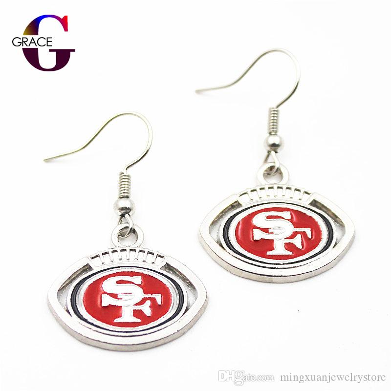 10 pair/lot Football Team Sports Earring Charms Long ear hook Drop Earrings For Women Sport Fan Diy Jewelry