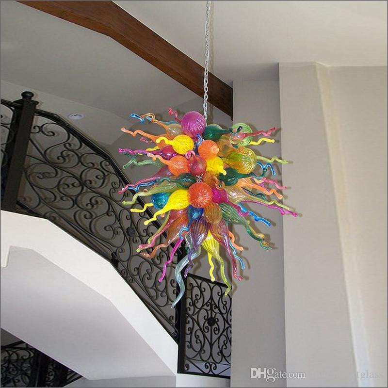 Vintage Ceiling Decor Multicolor Art Decor Hanging DIY Hand Blown Glass Chandeliers Home Decoration Hand Blown Glass Crystal Chandelier