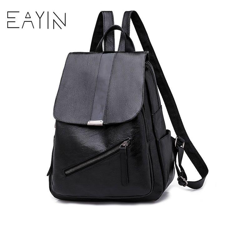 EAYIN Black Women Backpacks Leather Korean Style Women Book Bags Female  School Bags For Teenager Girls Casual Shoulder Bag Dakine Backpack Best  Backpack ... 09328d9ab8285