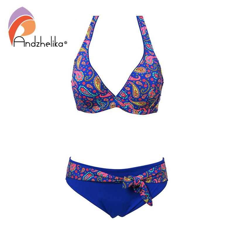 Andzhelika New XL-5XL Plus Size Swimwear Women Sexy Deep-V Bikini Vintage Print Swimsuit Summer Bathing Suits female swimwear