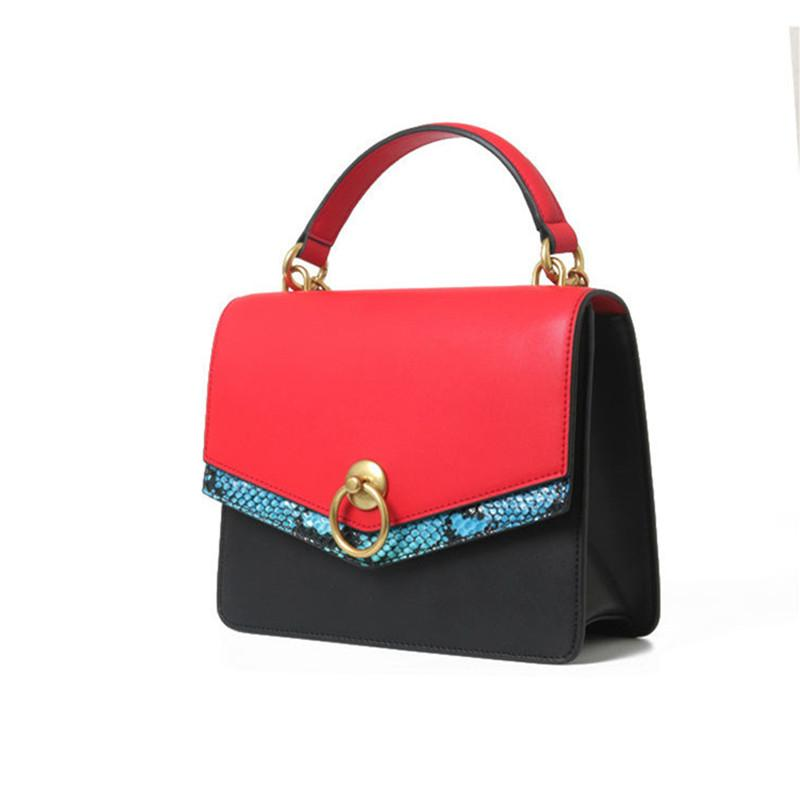 2019 Women Serpentine Patchwork Handbags Lady Genuine Leather Ring ... 3216efbe8e531