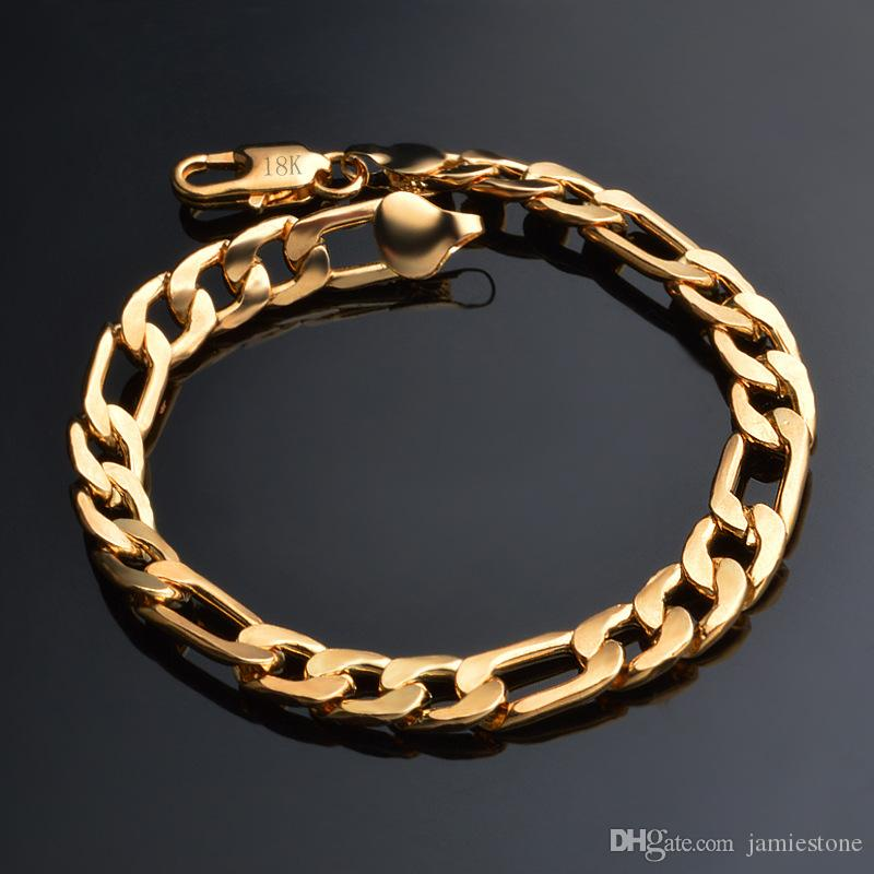 67f214e83bc37 Hip Hop Bling Jewelry 18K Gold Plated 8mm 3:1 Curb Figaro NK Chain Bracelet