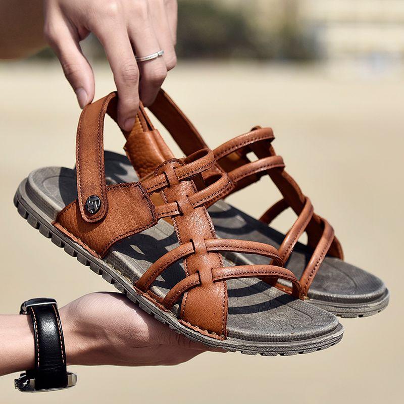 d7142806ab93 Men Beach Sandals 2019 Summer Men S Outdoor Shoes Roman Men Leisure Shoes  Male Flip Flops Fashion Slippers Flat Walking Footwear High Heels Heels  From ...