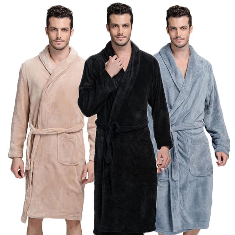 cd800a7c81c0e7 Homens de roupão de banho de Inverno grosso flanela manto Dos Homens do  sexo masculino longo coral fleece roupão de banho homem plus size XXL ...