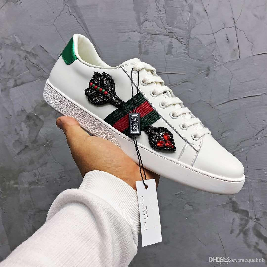 24786e6add9 Fashion Luxury Designer Women Shoes White Leather With Crystal Embroidered  Arrow Ace Sneaker Casual Shoes Dolce For Woman Size 35 40 Boat Shoes Shoes  For ...