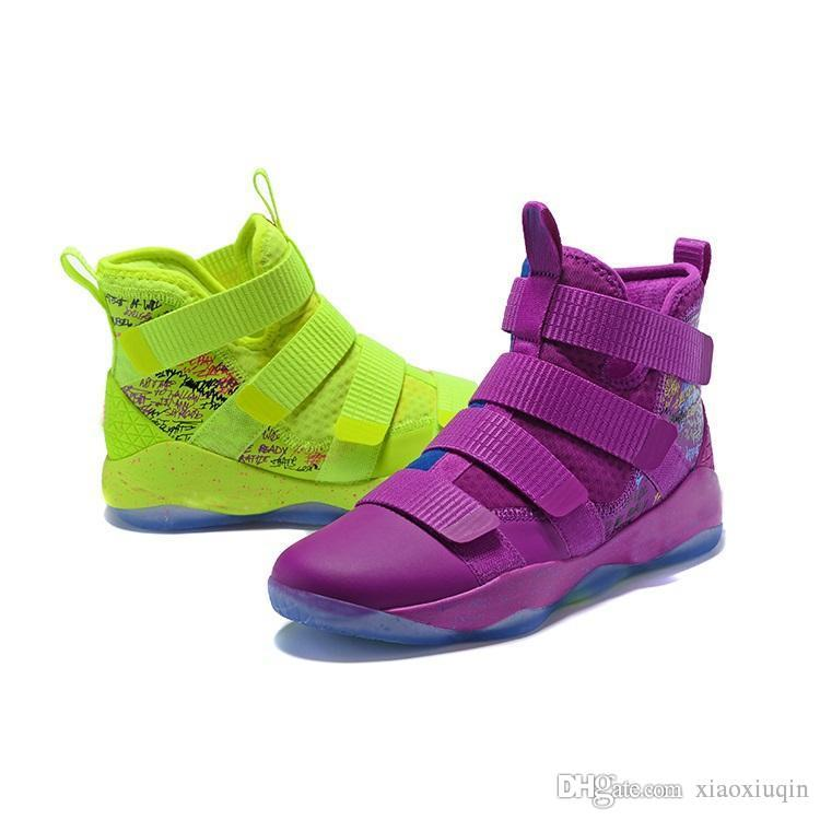 the best attitude 730bd bc875 Mens lebron soldier 11 basketball shoes Green Purple Wheat Red White Grey  Boys Girls Kids high tops lebrons soldiers sneakers boots with box