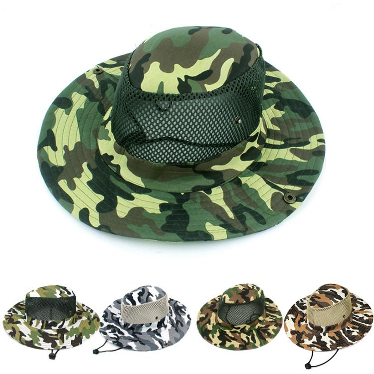 18f9f3b160f 2019 5 Designs Sport Camouflage Jungle Military Caps Boonie Hats Adults  Cowboy Wide Brim Hats For Fishing Packable Army Bucket Hat DHL JY132 From  Mask01