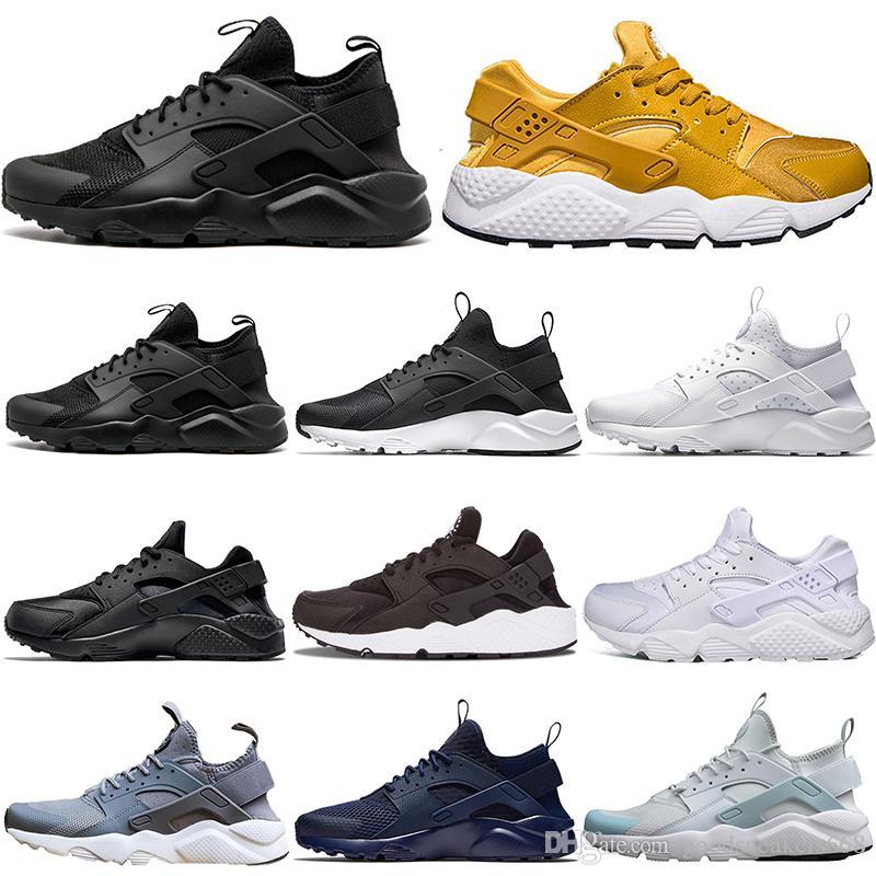 best sneakers cda77 33ef4 Großhandel Huarache Ultra Run Läufer 4.0 Laufschuhe 4er Dreifach Schwarz  Weiß Gelb Frauen Zapato Huaraches Mode Herren Sport Turnschuhe Trainer Drop  ...