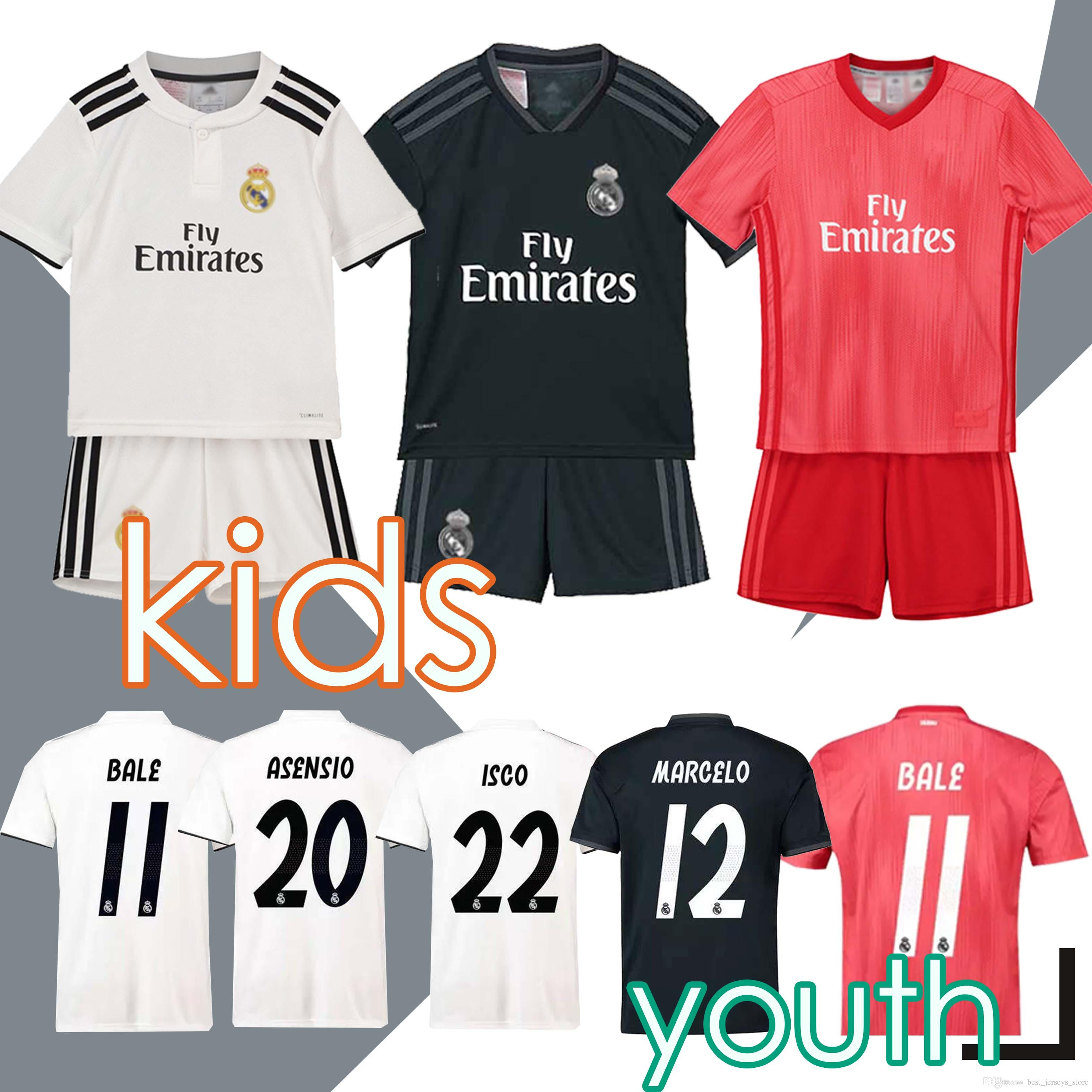uk availability 3fe7b f485e 2019 Kids Kit Real Madrid Football Jersey 2018/19 Home White Away Boy  Soccer Jerseys ISCO ASENSIO BALE KROOS Child 3rd Soccer Shirts