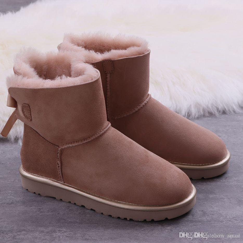 8541c2855b Designer WGG Women Winter Snow Boots Australia Tall Short Kneel Ankle Black  Grey Chestnut Navy Blue Red Coffee Cheap Lady Girl Size 36 41 Cute Shoes  Boots ...