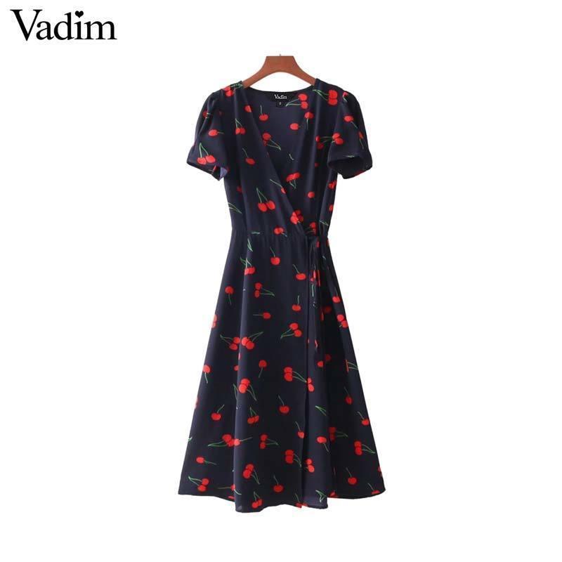 96ab9184936a3 Vadim Vintage V Neck Floral Pattern Midi Wrap Dress Cherry Dress Bow Tie  Cross Design Short Sleeve Retro Vestido Mujer Qz3506