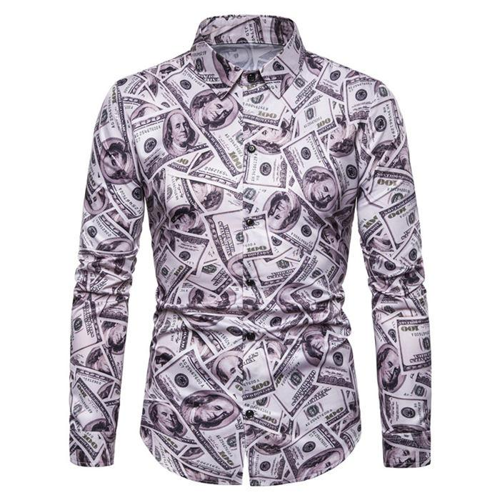 All Dollar Print Mens Casual Shirts Long Sleeve Turn Down Collar Shirts Designer Costumes Mens Apparel