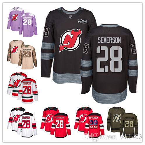 New Jersey Devil Jerseys  28 Damon Severson Jersey Hockey Men Women Youth  Red Home White Away USA FLAG Premier Alternate Stitched Jerseys UK 2019  From ... 41a7ce721