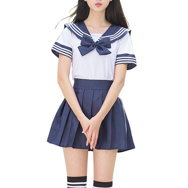 d3f3da5107 Compre Trajes De Marinero Conjuntos De Uniformes Escolares JK Uniformes  Escolares Para Niñas Camisa Blanca Y Trajes De Falda Azul Oscuro Estudiante  Cosplay ...