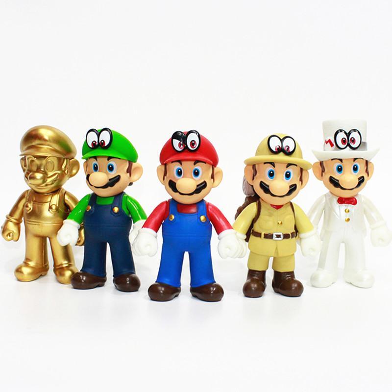 Acquista 5 Pz   Set Super Mario Bros Figura Giocattolo Mario Odyssey Maker  Verde Cappello Bianco Luigi Oro Mario PVC Action Figure Giocattoli A  35.47  Dal ... 8cbca738086e