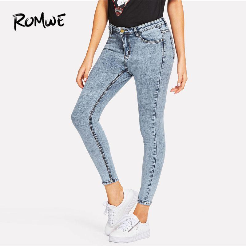 Acid Wash Skinny Jeans 2019 Posh Blue Fruhling Herbst Button Fly Zipper Fly Hosen Mode Tasche Mitte Taille Frauen Hosen