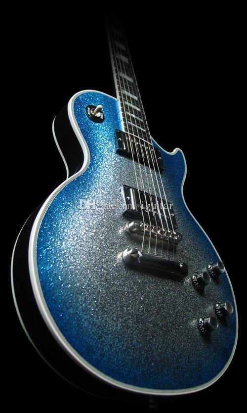 NEW Custom Shop Ace Frehley Electric Guitar Blue Burst Silver Sparkle Finish Ebony Fingerboard Frets Binding Lightning Inlay 2 Pickups