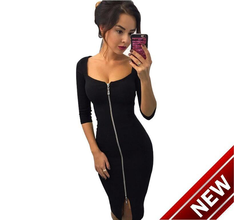 0fdc7bc9a4f271 Women Sexy Club Low Cut Bodycon Dress Red Velvet Sheath 2019 Casual Autumn  Winter Zipper Fashion Party Dresses Black Office Work Buy Party Dresses  Green ...