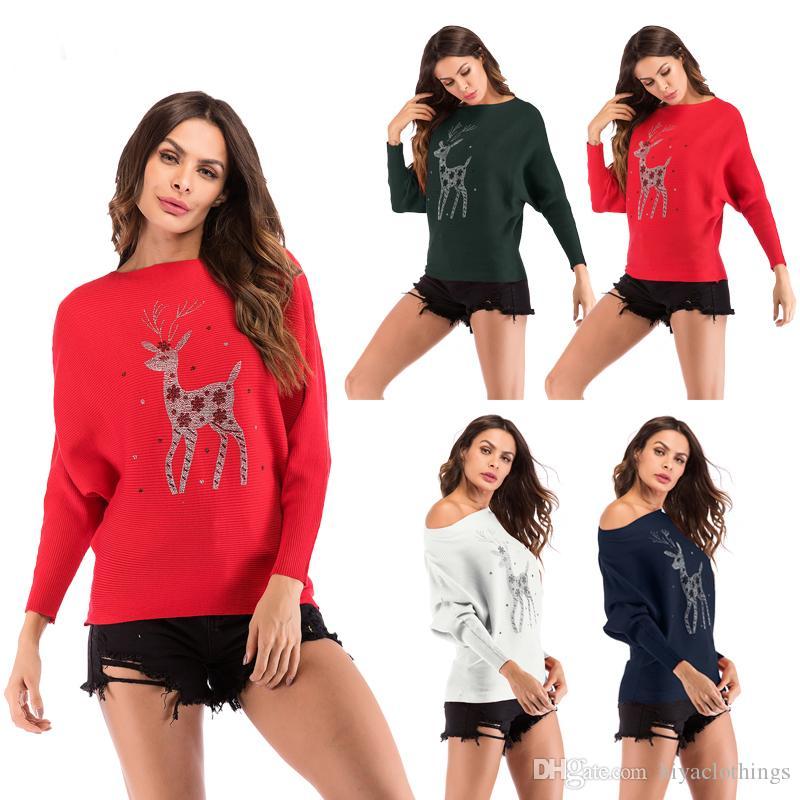59b7efc0beb4e8 Women's Clothing Hot Sale 2018 Autumn Winter Christmas Reindeer ...