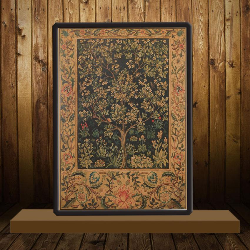 Tree of Life Bar Adornment Bedroom Retro Poster Mural Movie Poster Kraft Paper Wall Sticker