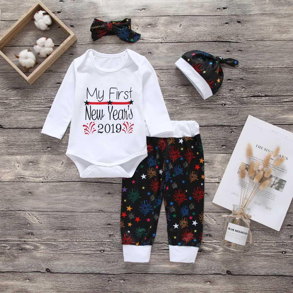 3228bc2a2 2019 New Years Newborn Baby Boy Girl Clothes Set Romper Tops Long ...