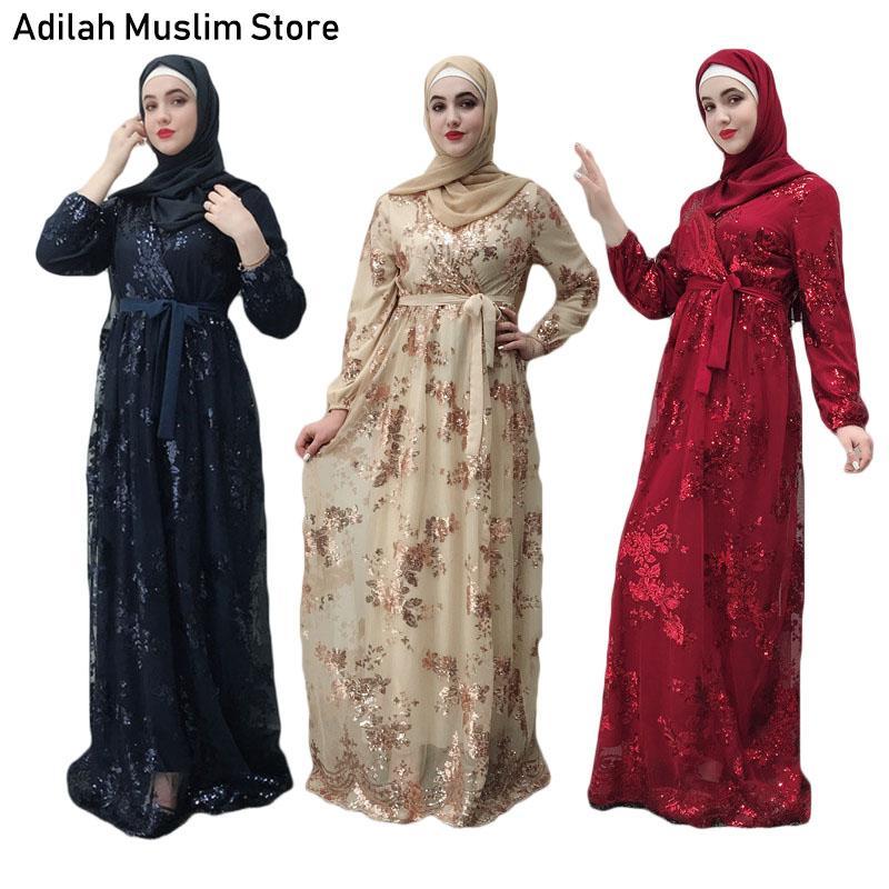 61956647c963c Luxury Muslim Dress Lace Embroidery High Class Sequins Abaya Dubai Jubah  Ramadan Islamic Women Kimono Turkish Eid Mubarak