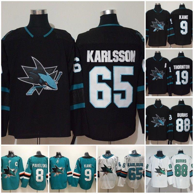 new products d579b 1c69c 2019 San Jose Sharks 65 Erik Karlsson 8 Joe Pavelski 88 Brent Burns 19 Joe  Thornton 39 Couture 9 Evander Kane Third Alternate Black Jerseys