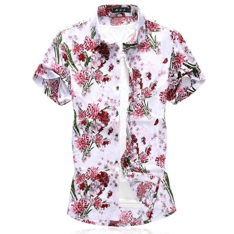 b1a19128a2f 2019 Comfortable Print Shirt 2019 New Men Hawaiian Beach Casual Short  Sleeve Shirt Fashion Camisa Masculina Plus Size M 7XL From Menly
